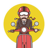 Man with red helmet riding a red scooter Illustration — Stock Photo
