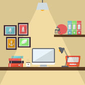 Workstation Flat Design Illustration — Stok fotoğraf