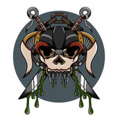 Skull demon hardcore illustration with weapon and another detail for tattoo and shirt — Stok Vektör