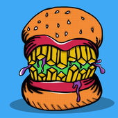 Crazy Burger Monster Doodle — Stock Vector