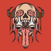 Super creepy leak skull with thorn — Stock Vector