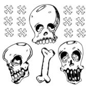 Grunge Black Ink Doodle Skull — Vector de stock