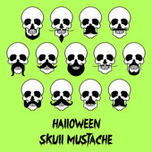 13 Halloween skull mustache — Stock Vector