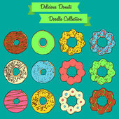 Delicious Donuts Doodle Collection — Wektor stockowy