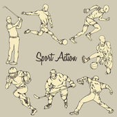 Sport Action Vintage Drawing Style — Stock Vector
