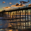 Pacific Ocean sunset at the Oceanside Pier - Stock Photo