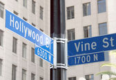 Street signs of Hollywood and Vine — Stock Photo