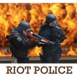 Members of SWAT in riot gear — Stock Photo