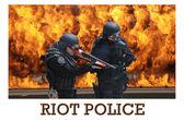 Members of SWAT in riot gear — Stock Photo