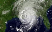 Satellite photo of Hurricane Katrina over The Gulf of Mexico — Stock Photo
