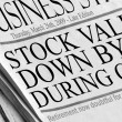 Stock Photo: Newspaper headlines - Stock Values Down by 1.2 during crisis.