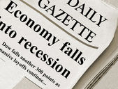 Economic Recession headlines in an unknown Journal newspaper — Stock Photo