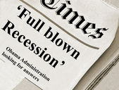 Full blown Recession headlines in an unknown Journal newspaper — Stock Photo