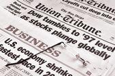 Dow Tumbles and US economy shrinks — Stock Photo