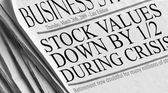 Newspaper headlines - Stock Values Down by 1.2 during crisis. — Stock Photo