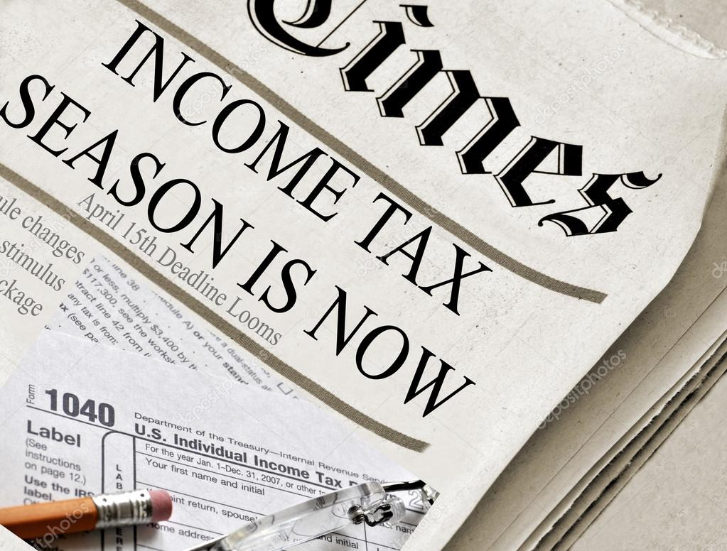 Taxes and tax preparation concept - newspaper headlines that say 'Income Tax Season Is Now'. — Stock Photo #14227461