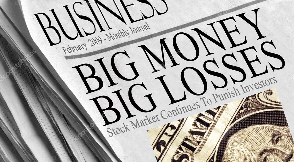 Big Money Big Losses - Newspaper headlines in February 2009. Washington image from a US one dollar bill. — Stock Photo #14227501