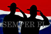 Silhouette of two Marines drill instructors — Stock Photo