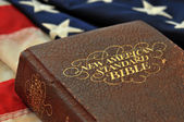 Christian Foundations - Bible and Flag — Stock Photo