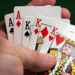 Revealing part of a good poker hand — 图库照片
