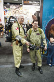 SAN DIEGO, CALIFORNIA - JULY 13: Participants Dave and Jeff Teel dress as Ghostbusters while at Comicon in the Convention Center on July 13, 2012 in San Diego, California. — Stock Photo