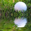Difficult Shot! A golf ball on a tee in the rough and very close to a water hazard - Stock Photo