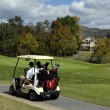 Golf cart waiting for golfers — Stock Photo
