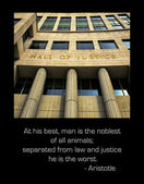 Hall of Justice and Aristotle quote — Stock Photo