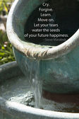 Water pot of flowing streams into a pool. — Stock Photo