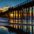 Oceanside Pier at sunset - Stock Photo
