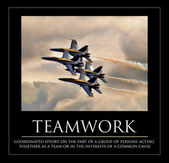 Closeup image of four US Navy Blue Angels flying in tight diamond formation — Stock Photo