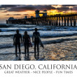 Stock Photo: Three Silhouetted surfers at Oceanside Pier, Oceanside, California.