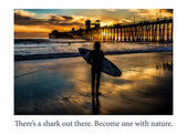 Silhouetted surfer at Oceanside Pier, Oceanside, California. — Stock Photo