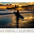Silhouetted surfer at Oceanside Pier, Oceanside, California. — Stock Photo #21175133