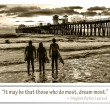 Three surfing friends near the Oceanside Pier, California, — Stock Photo
