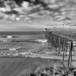 Wooden pier in Southern California - Stock Photo