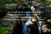 Waterfall in a forest setting with a confucious quote. — Stock Photo