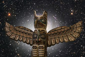 A totem wood pole with the universe on the background. — Stock Photo