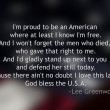 Blurred American Flag with quote in front — Stock Photo