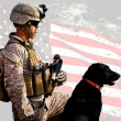 Soldier with dog — Stockfoto