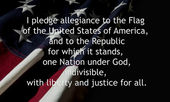 Pledge Of Allegiance over American flag. — Stock Photo
