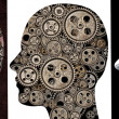 Heads with gears - Diversity — Stock Photo