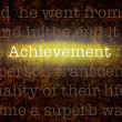 Word ACHIEVEMENT over grungy background — Stock Photo
