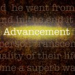 Foto de Stock  : Word ADVANCEMENT over grungy background