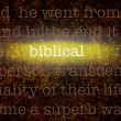 Word BIBLICAL over grungy background — Photo