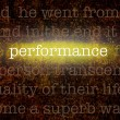 Word PERFORMANCEover grungy background — Stock Photo