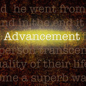 Word ADVANCEMENT over grungy background — Stok fotoğraf