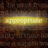Word APPROPRIATE over grungy background — Stock Photo