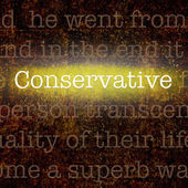 Word CONSERVATIVE over grungy background — Stock Photo