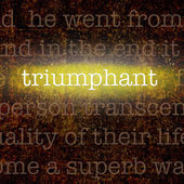 Word TRIUMPHANT over grungy background — Stock Photo